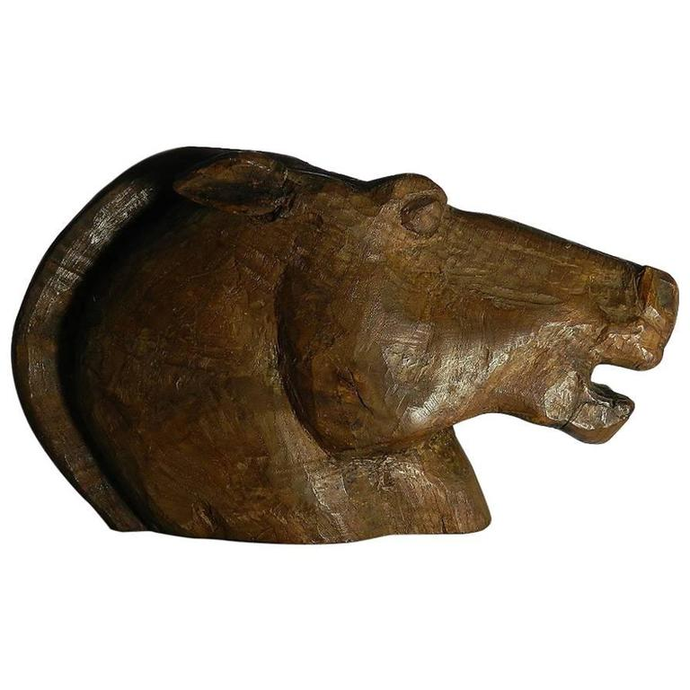 Early th century hand carved horse head sculpture for
