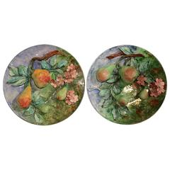 Two 19th Century French Hand-Painted Barbotine Platters with Apples and Pears