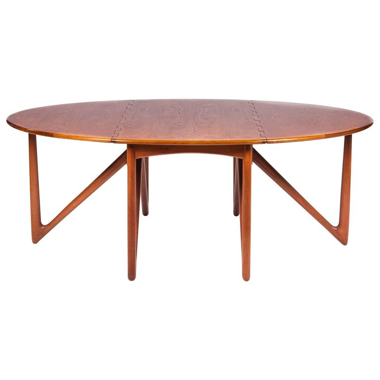 Teak Drop-Leaf Dining Table by Designed by Kurt Østervig For Sale