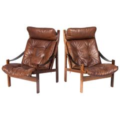 "Pair of Teak and Leather ""Hunter"" Easy Chairs Designed by Torbjørn Afdal"