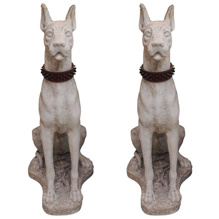 Pair of Carved Stone Great Danes 1