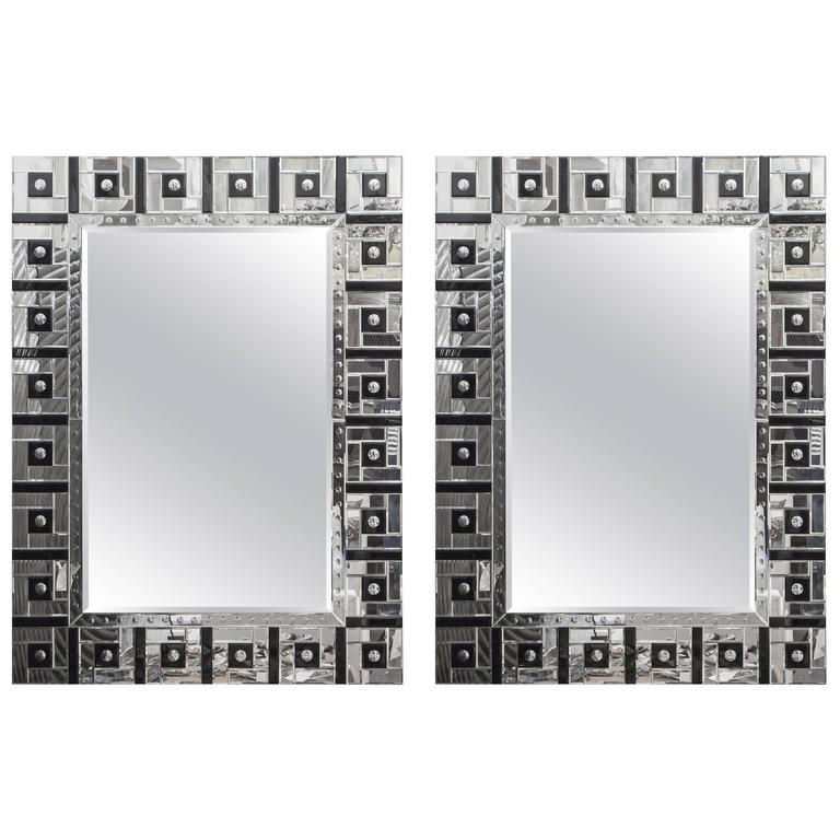 Pair of French Art Deco Mirrors For Sale