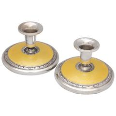 Pair of Art Deco Sterling Silver and Yellow Guilloche Enamel Candlesticks
