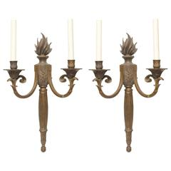 Early 20th Century French Neoclassical Flame Bronze Lights or Sconces Stately