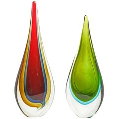 Mid-Century Modern Seguso Flávio Poli Sommerso Glass Teardrop Sculpture Murano