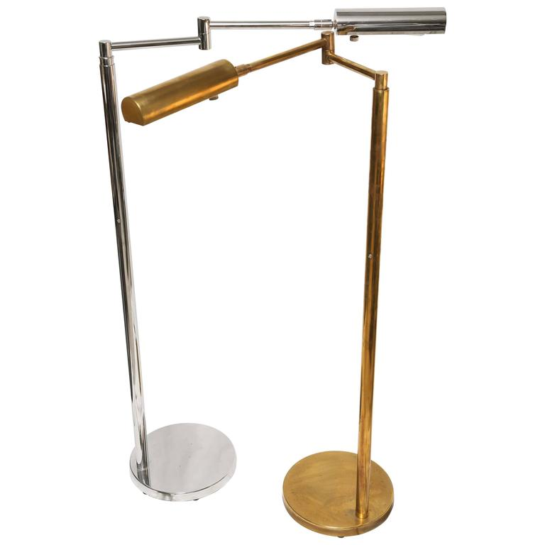 Mid-Century Modern American Koch & Lowy Brass and Chrome Swing Arm Floor Lamp 1