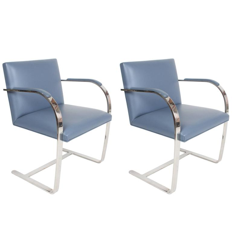 Pair of Mies van der Rohe Flatbar Brno Chairs by Knoll, Stainless For Sale