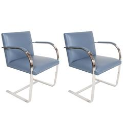 Pair of Mies van der Rohe Flatbar Brno Chairs by Knoll, Stainless