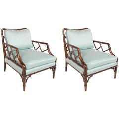Pair of Faux Bamboo Chinese Chippendale Lounge Chairs