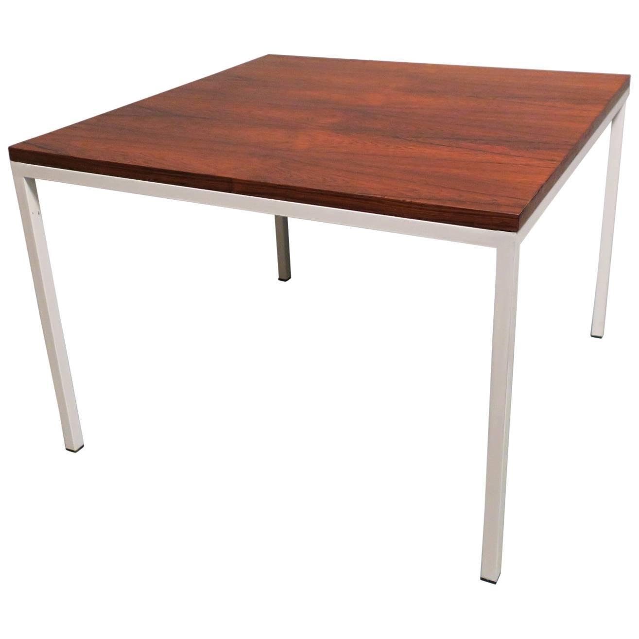 Modernist Rosewood Square Coffee Table With Metal Legs For Sale At 1stdibs