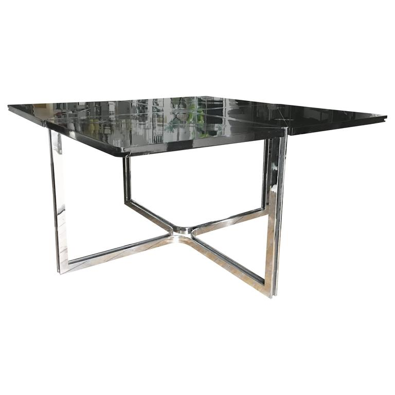 Flip Top Lacquer And Steel Dining Table For Sale At 1stdibs