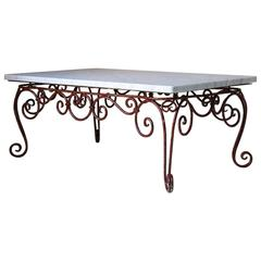 French 1950s Iron and Marble Coffee Table