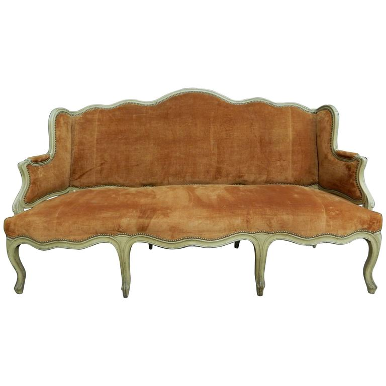 Exceptional Maison Jansen Style Louis XV Sofa With Velvet Coral 1