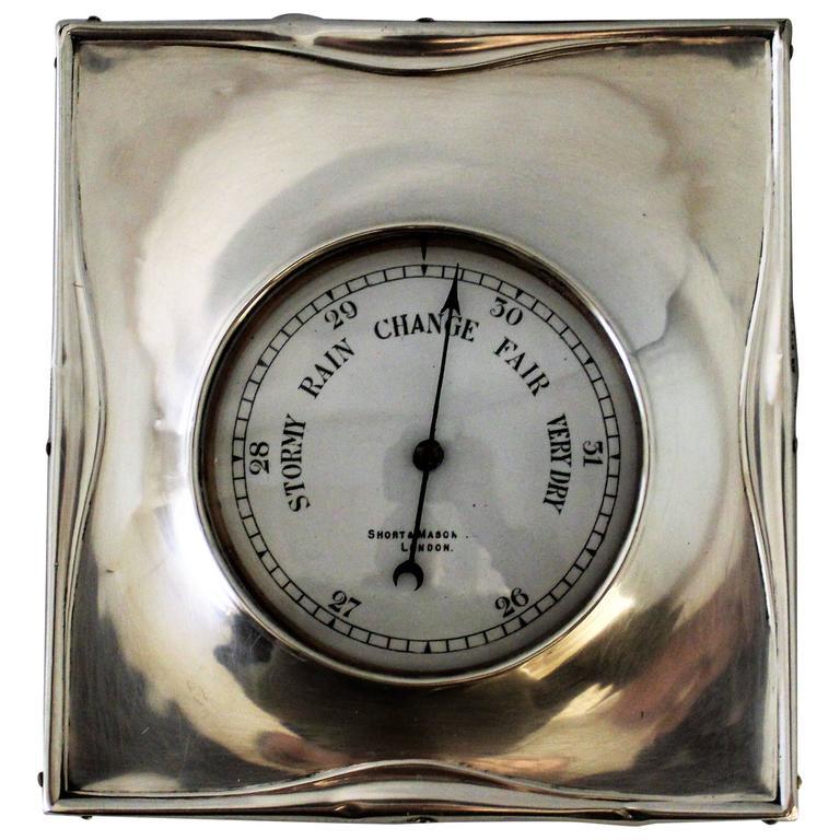 Short & Mason Barometer in Sterling Silver Case For Sale