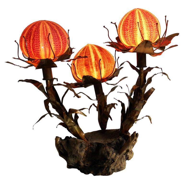 Curtis Jere Sculptural Brutalist Sea Urchin Lamp