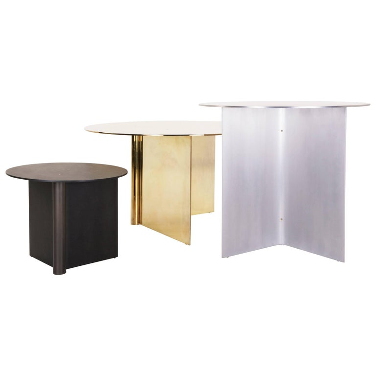 Os Table Aluminium Small in (1) Blackened or (1) Polished Aluminum For Sale