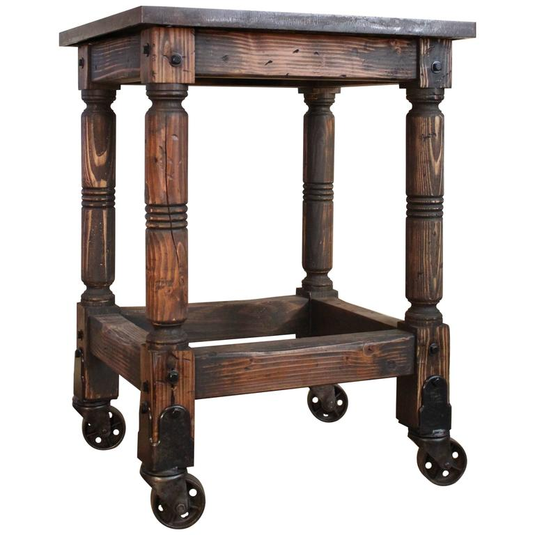 Bar Cart Cast Iron Steel and Wood Printer's Turtle Table, Rolling Serving For Sale