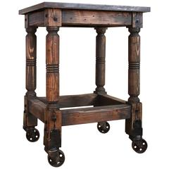 Cast Iron Steel and Wood Printer's Turtle Table, Rolling Serving or Bar Cart