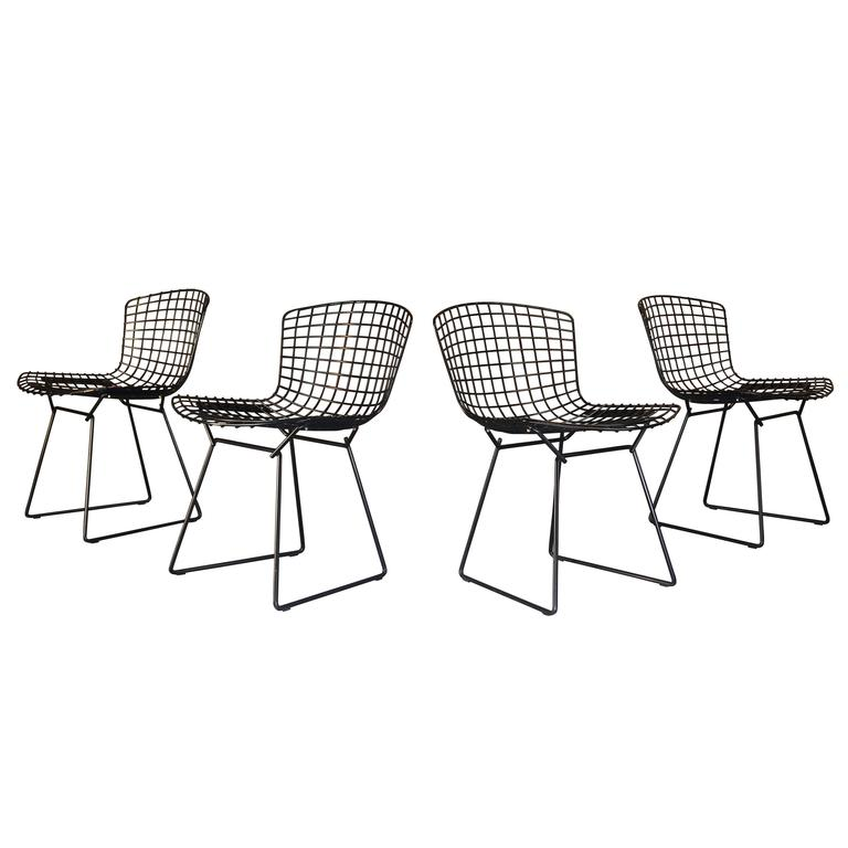 Set Of 8 Harry Bertoia Wire Chair/Side Chair For Knoll, Black Metal For