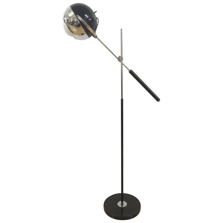 Articulating Chrome 'Eyeball' Floor Lamp in the Style of Stilnovo ...