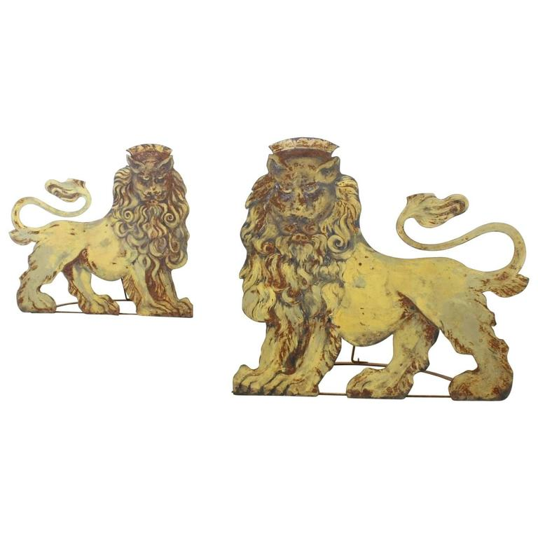 Pair of Folding Wrought Iron and Tole Circus Lions