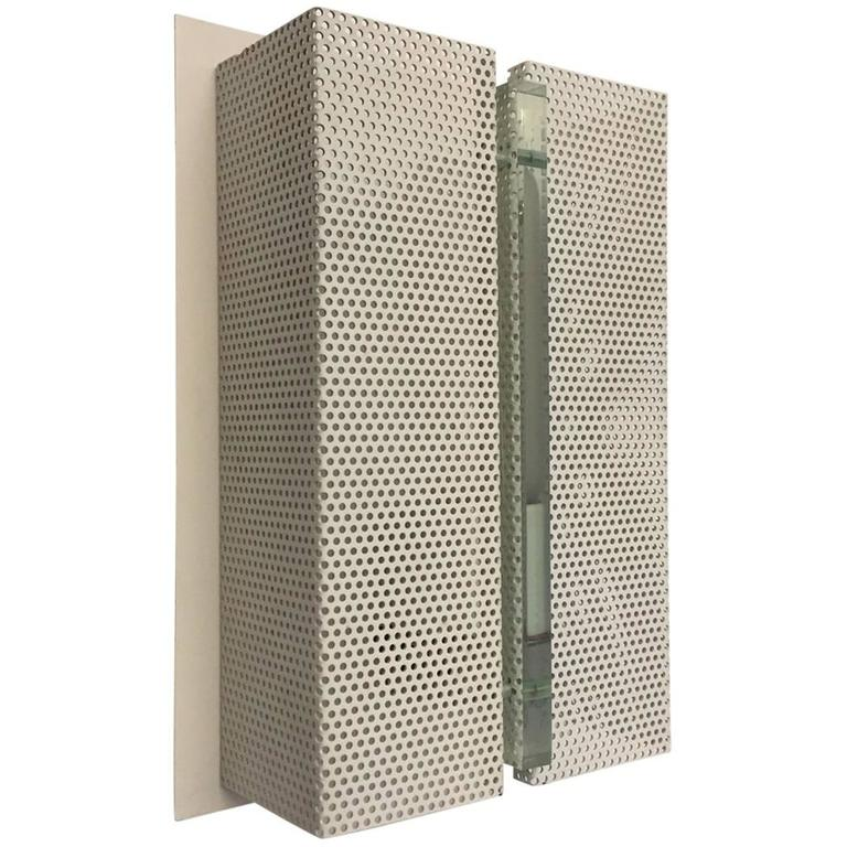 Wall Sconce with Perforated Metal For Sale