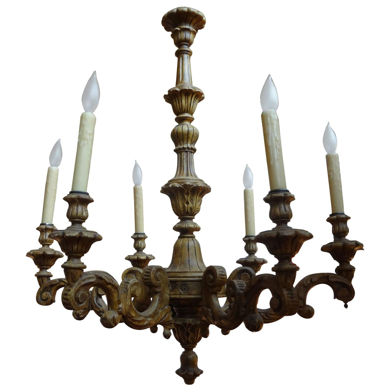Antique Italian Six-Arm Carved Wood Chandelier - Antique Antler Chandelier With Carved Wood Figurine