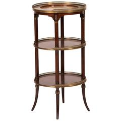 19th Century Three Tier Side Table in Mahogany with Marble Top and Brass Galley