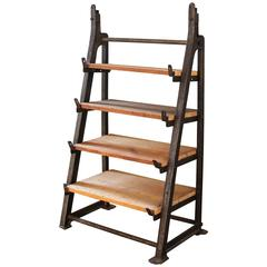Vintage Industrial Custom Factory Cast Iron Wood Shelving, Shelf Storage Unit