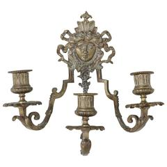 19th Century Napoleon III Period Bronze Candle Sconce with Female Face
