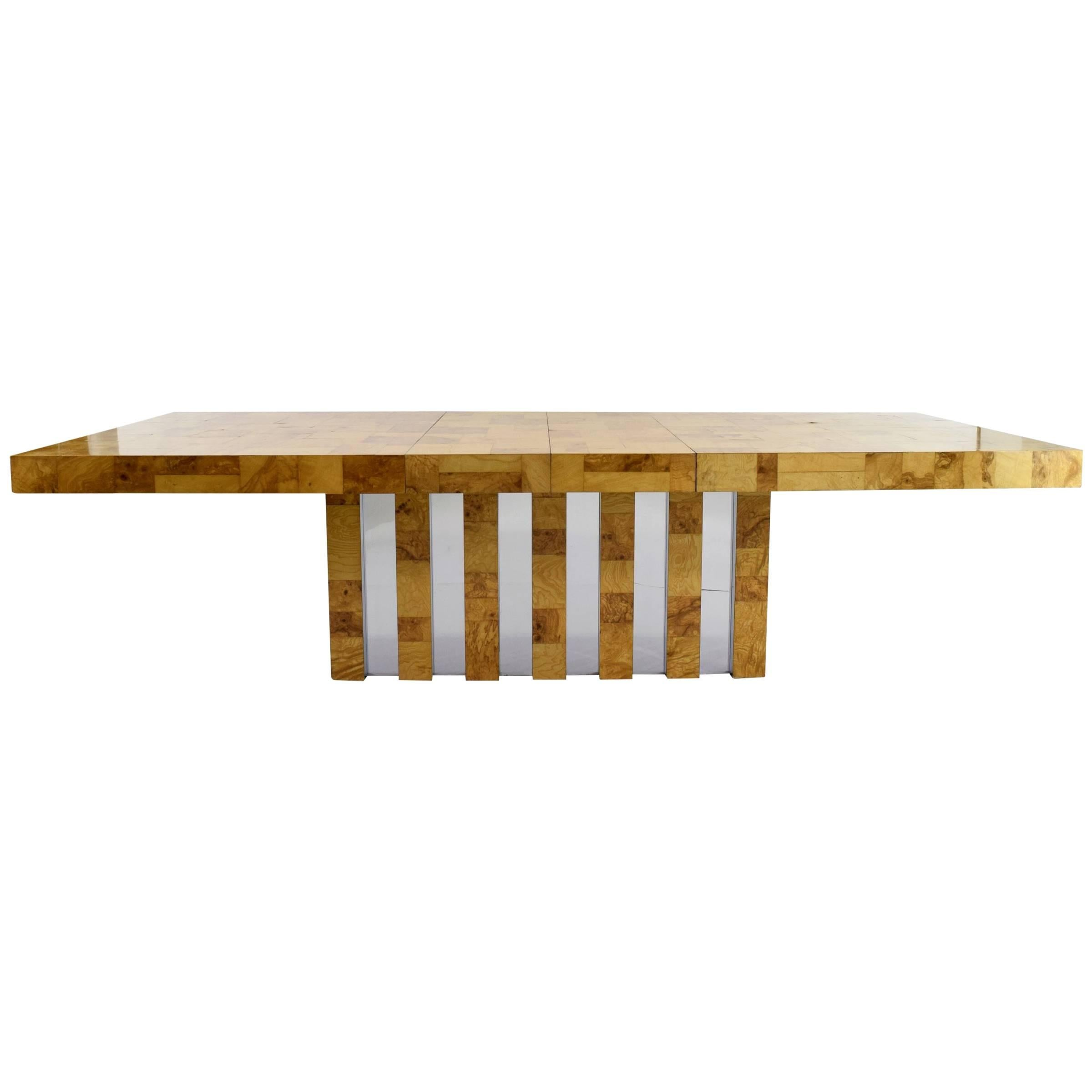 Paul Evans Burl Wood and Chrome Cityscape Dining Table