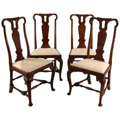 Set of Four Queen Anne Walnut Side Chairs