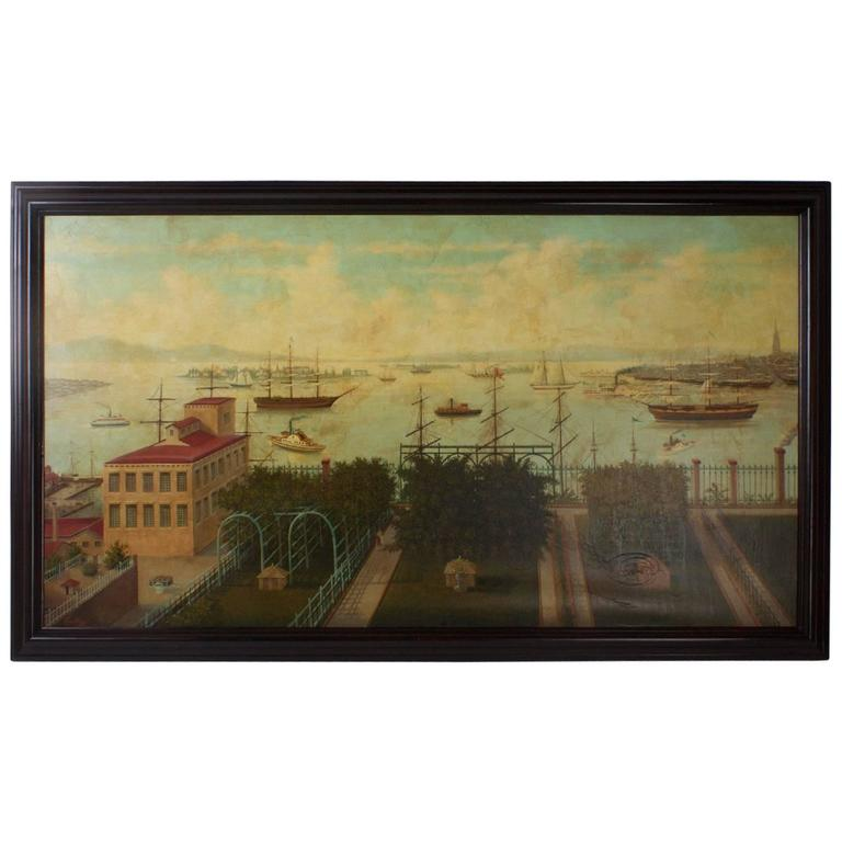 Large Oil Painting on Canvas of a 19th Century Harbor
