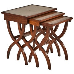 Set of Three Mid-Century Leather Top English Nesting Tables