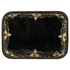 Large 19th Century Napoleon III Period Painted Black and Gold Tole Tray