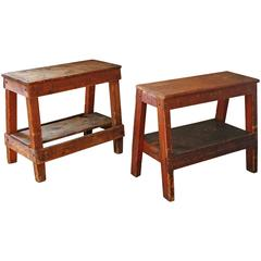 Pair of Vintage Industrial Wooden Factory Work Benches, Side End Tables Horses