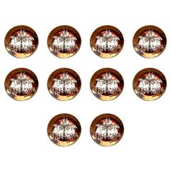 Set of Ten Fornasetti Coasters Made Exclusively for Saks, Italy, 1960s