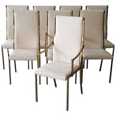 Set of Eight Regency Mastercraft Brass Dining Chairs