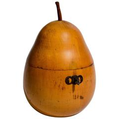 English Antique Fruitwood Pear Tea Caddy