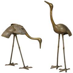 Pair of Tall Sculptural Brass Cranes or Herons