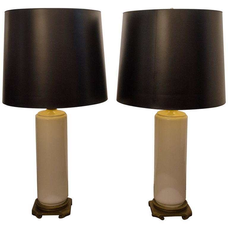 Pair of Large White Ceramic Lamps For Sale
