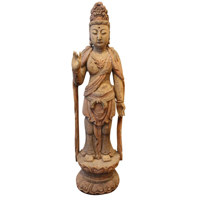 """19th Century 40"""" Chinese Polychromed Statue or Guanyin or Buddha For Sale"""