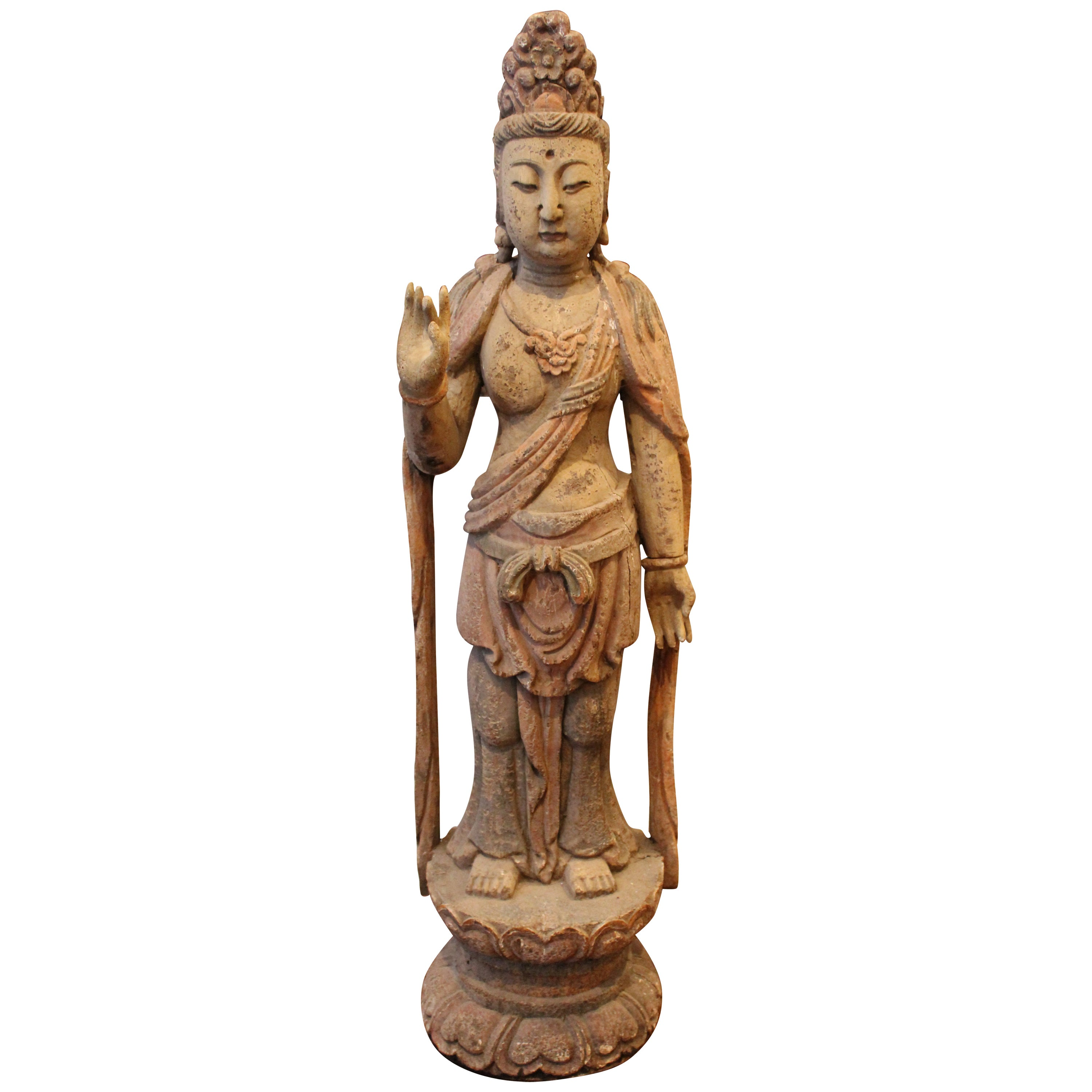 """19th Century 40"""" Chinese Polychromed Statue or Guanyin or Buddha"""