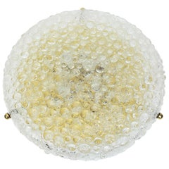Large Round Ice Glass Flush Mount by Hillebrand, Germany, 1970s