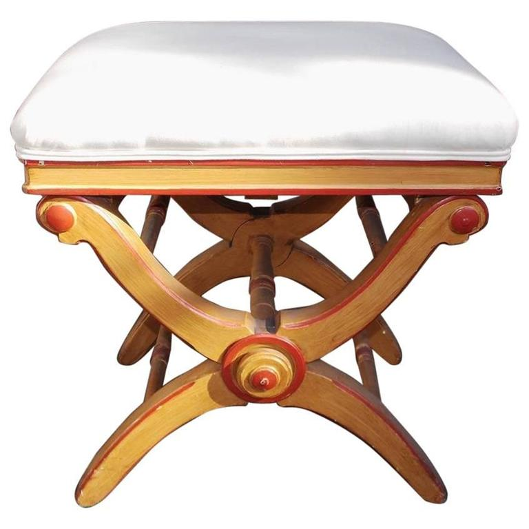 English Crule Painted & Upholstered Piano Bench, Circa 1830