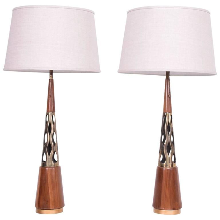 Mid-Century Modern Walnut and Brass Table Lamps