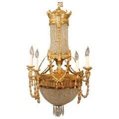 Interesting Late 19th Century Gilt Bronze and Crystal Basket Chandelier