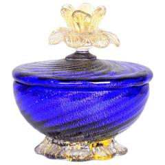 Salviati Murano Glass Gold Leaf Aventurine Jar