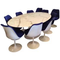 Knoll Tulip Table Eero Saarinen Marble & Ten Swivel Blue Dining Chairs Oval