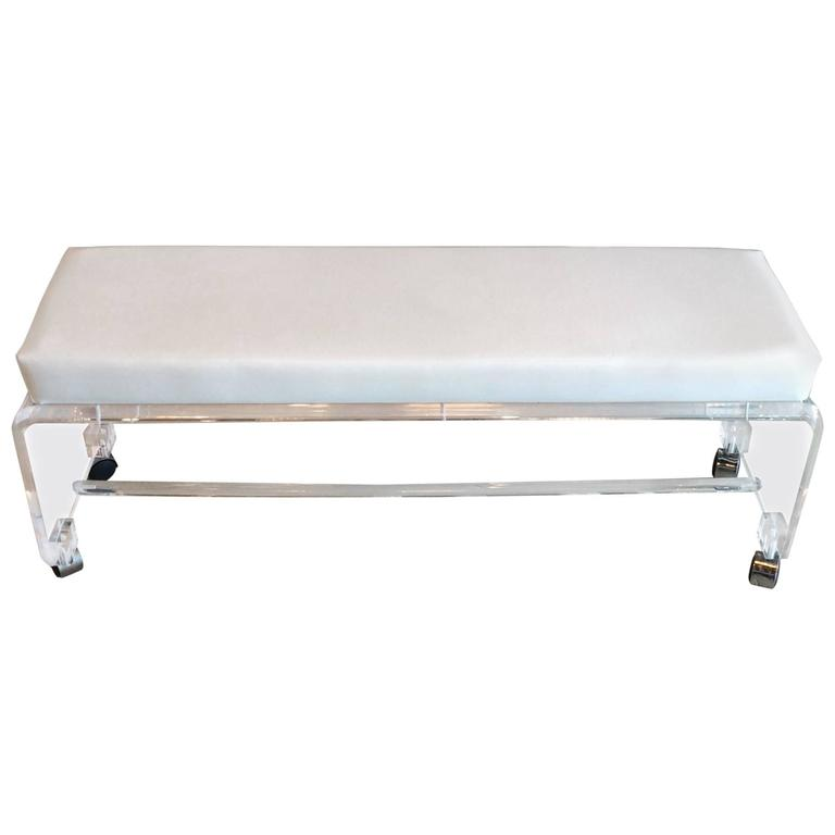 Lucite Waterfall End Of Bed Bench Seat Chair White Leather Vintage Chrome Castor For
